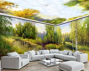 3D Wallpaper Soggiorno Tutta la Casa Wall Background Fantasy Forest rurale Elk Nordic ordinazione murale