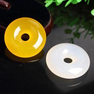 Jade pendentif boucle de calcédoine sécurité grande Topaz boucle de sécurité pendentif calcédoine chaîne de chandail blanc accessoires