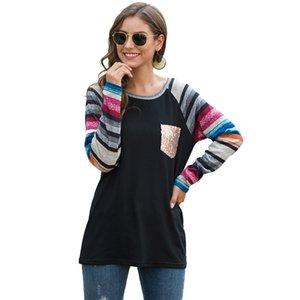 Новый цвет Striped Top Женщины Футболка с длинным рукавом Tee Мода Sequined карманный осень весна тройники