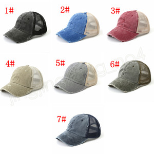 Washed Vintage Dyed Baseball Cap ponytail Unisex Classic Plain outdoor mesh hats travel fashion Snapback party favor FFA4078-1