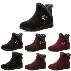 2020 Non-Marke Winterfrauen Schneeschuhe Triple Black Red Brown Suede Stiefeletten Mutter Schuhe Warmhalte 35-40 Style 13