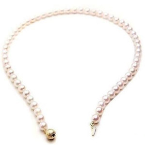 8-9mm naturale South Seas White Pearl Necklace 18inch 14K Clasp