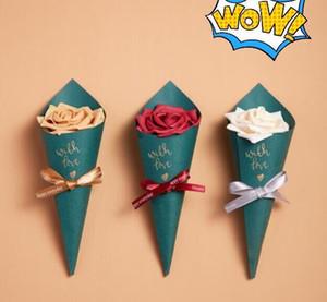 Nikah Şekeri Kutuları Kağıt Forest Green Dondurma Külahları Tutucu Eşantiyon Kutu Poşet Parti Çikolata Hediye Kutusu Baby Shower Yana