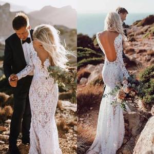 Playa vestidos de novia de sirena atractivas del cordón de la ilusión sin respaldo de manga larga de Modest más el tamaño de País de recepción vestidos nupciales