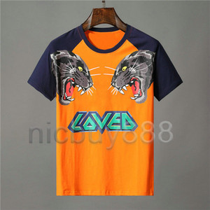 Designer roupas de luxo para homens laranja T-shirt carta de animais tigre lobo impressão tshirt amado cor patchwork Tee camisetas casuais camiseta Top