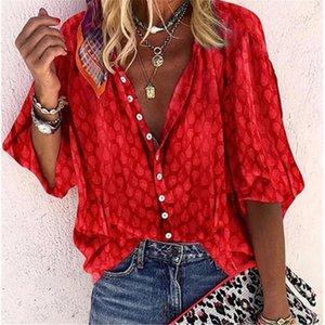 Women's Blouses & Shirts Orange Long Sleeve Shirt Blouse Autumn Office Lady For Women Tops 2021 Summer Vintage Button Female