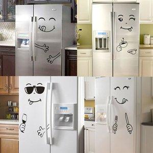 Yeni 4 Styles Gıda Mobilya Dekorasyon Sanat Poster DIY PVC için Yüz Duvar Sticker Mutlu Lezzetli Yüz Buzdolabı Çıkartma Yummy Gülümseme