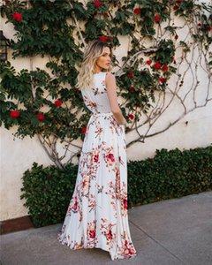 Dresses Fashion Floral Printed Sleeveless Dresses Womens Casual Beach Vacation Dress Womens Chiffon Bohemian