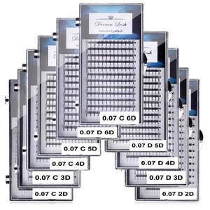2D 3D 4D 5D 6D Ventiladores Volumen Extensión de pestañas Individual Premium Cilios Premade Russian Cluster Eye Makeup Tool 12 líneas