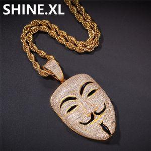 V per Vendetta Mask Collana con pendente con catena a corda Iced Out Zircon Mens Hip Hop Jewelry Gift