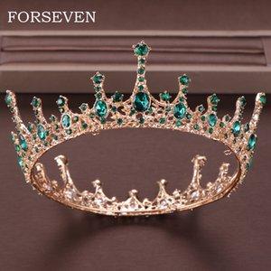Yeşil Kristal Tiara Taç İçin Gelin başlıkiçi Saç Aksesuarları Yuvarlak Kraliçe Diadem Kristal Düğün Taç Gelin Tiaras