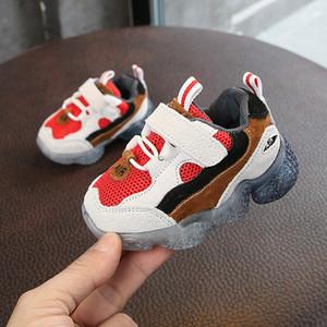DIMI 2019 Primavera New Kids macia antiderrapante infantil Primeiro Walkers malha respirável bebê Sneakers criança sapatos para Boy Girl Y200404