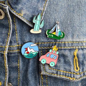 Karikatür Meksika kaktüs Dağcılık Otobüs Ördek çadır Metal Broş iğneler DIY Düğme Pin Denim Ceket Pin Badge Takı Hediye çocuk