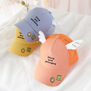 Childrens Net Hat cartoon faccina ali Cute Baby curvo Brim Cap Estate Nuovo Sun del parasole Berretto da baseball