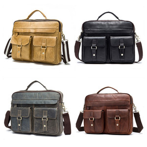 Vintage Bags Bags Womens Briefcases Retro Laptop Messenger Leather Handmade Selling Mens Style Hop Solid Bags Miklh