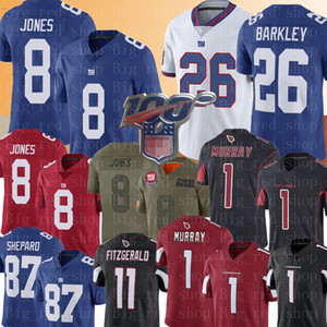 New York 8 Daniel Jones # 26 géant Saquon Barkley Jersey 1 Kyler Murray Arizona # Cardinal 11 Larry Fitzgerald 87 Sterling Shepard Maillots