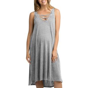LONSANT maternité Robes Femmes coton sans manches Robe ample Casual solide maternité d'été Femmes Vêtements Grossesse Sundress Nouveau