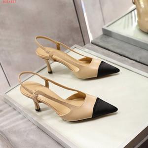 2020 كلاسيكي النساء بيج رمادي مضخات جلدية أحذية خفيفة صنادل مضخات شقق الشهيرة C العلامة التجارية كاب تو أحذية فستان الزفاف