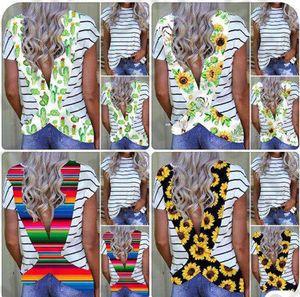 Frauen T-Shirt Tops Sommer-Blumen Sun Flower Striped Backless Kurzarm T-Shirt beiläufige Quergurt T Bademode Vertuschung S-3XL E31204