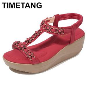 TIMETANG2020 Sandals With Heel Med Women Wedges Woman Shoe Muffins All-Match Shoe Espadrilles Platform Velvet Shoes Large