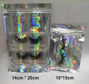 Wholesale Eyelashes Package Holographic Laser Zip Lock Party Favor Cosmetic Bag for Lash Packaging bag