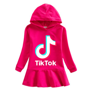 Tik Tok Sweats à capuche Robes enfants layette fille Robe en coton Haut à capuche Mode TikTok Enfants Teen Vêtements de sport Casual