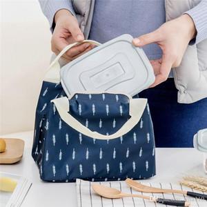 Mujeres caja de almuerzo bolsa de mano Bolsas botella grande capacidad de aislamiento de almacenamiento de alimentos BoxInsulated bolsa de picnic rayado grueso T1I274 térmica
