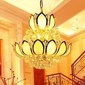 Meilleures ventes lustre en cristal lustre de lotus Fujiaan chambre de la salle à manger salon décoration lampisterie citrine boîte d'étude