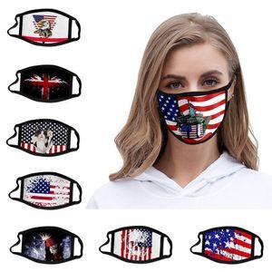 2020 Máscaras algodón de la manera de la bandera americana del gato historieta Eagle impresa boca máscara de la máscara anti de la fiesta Elección contaminación por polvo lavable Cosplay EE.UU.