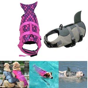 Ajustable de la chaqueta del perro casero Natación Vida flotador de flotabilidad Chaleco Salvavidas Ayuda Aid vida de los perros Chaleco tiburón Animales Chaqueta Ropa de baño