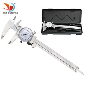Aracı Kumpas 0-150mm / 0.02mm Şok geçirmez Paslanmaz Çelik Hassas Sürmeli Kaliper T200602 Dial Ölçme QSTEXPRESS Metrik Ölçer