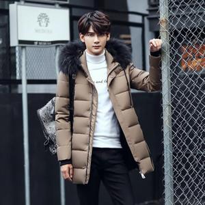 Yeni Moda Gençlik Erkek Kapşonlu Aşağı Ceket Beyaz Aşağı Dolgulu Ceket Man İnce Şık Erkekler Kış Casual Aşağı Coat