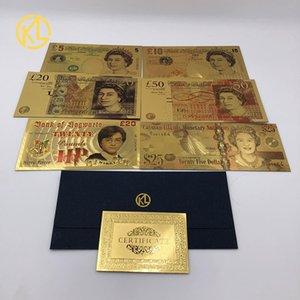 رخيصة الشحن 1PC ملون جنيه UK 20 البنكنوت عادي الذهب مطلي بيل العملات البريطانية الحرفية المال