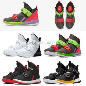 LeBron soldat 13 école primaire de Thunder Gris vente chaude ETUI enfants Garçons Filles des femmes des hommes de basket-ball chaussures Taille gros US4-US12