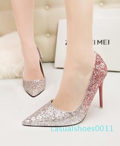 11cm Stiletto heel sexy gradient sequins pumps pointed toe glittler bridal wedding banquet shoes red purple blue with bottom red xshfbcl c11
