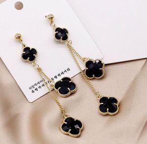 Brand Designer Ohrringe S925 Silber Nadelklee Klee Baumeln Ohrringe Für Frauen Schmuck Mode Lange Ohrring für Party