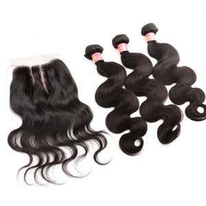 Bella Hair® paquetes de pelo brasileños con cierre de 8-30 Extensiones de cabello humano teje la trama de doble pelo Cierre de la onda del cuerpo ondulada Julienchina