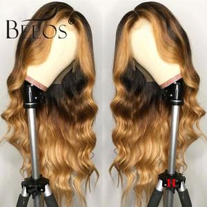 Do corpo de Remy Beeos Brasileira de onda 13 * 6 parte dianteira do laço humano peruca de cabelo Ombre Loiro destacam a cor 180% Densidade Oriente Parte Pré arrancada
