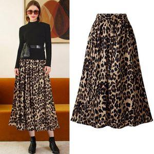 Elastico in vita dell'annata delle donne della stampa del leopardo a pieghe Gonne roccia punk coreano gonna Streetwear Harajuku signore Gonna longuette