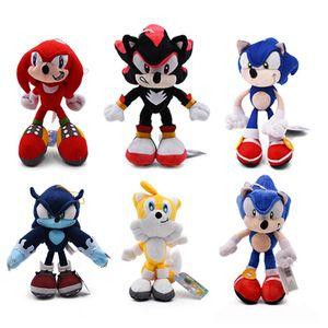 6styles Sonic Peluche Spielzeug, Schwarz, Blau und Rot Sonic Plüschspielzeug Soft Gefüllte Puppe-Baby-Geschenk für Kinder Weihnachten Y200703