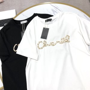 New classic iconic leather chain design Women's short-sleeved T-shirt High quality 100% cotton T-shirt Women's short-sleeved T-shirt S M L
