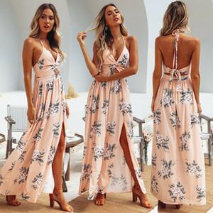 Kadın Yaz Boho Maxi Uzun Elbise Akşam Parti Plaj Elbise V Yaka Bölünmüş Sundress Çiçek Halter Elbise