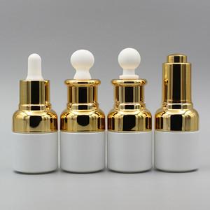 Высокосортная жемчужно-белая стеклянная бутылка, Бутылка эфирного масла с пластиковой головкой пресс-капельницы, косметика для масляной бутылки