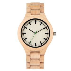 Hombres Reloj de madera de cuarzo hecho a mano Supperlight Reloj de madera natural Relojes de arce duradero Correa ajustable