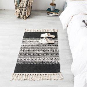Alfombra interior Bohemian Ethnic Fringe Carpet Alfombra para el hogar Dormitorio Mesa de centro Colchón de cabecera Simplicidad Algodón y lino Textiles para el hogar retro