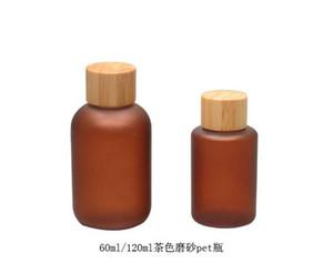 200 pçs / lote 60 ml brown fosco garrafa PET com tampa de rosca / Natural cap bambu / Tea cor garrafa de plástico, garrafa de orvalho puro