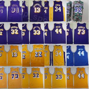 Erkekler Vintage Basketbol Shaquille Oneal Jersey 34 Wilt Chamberlain 13 Dennis Rodman Jerry West Artest layık Kareem Abdul-Jabbar Johnson