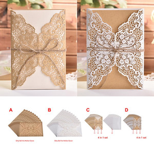 Glittery Wedding Invitation Laser cut out invitation holiday greeting card gold lace invitation kraft paper hemp rope wedding card A477
