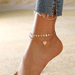 Gioielli di moda femminile cuore cavigliere Barefoot Crochet sandali piede Leg Nuovo Cavigliere su bracciali caviglia del piede per monili delle donne Leg