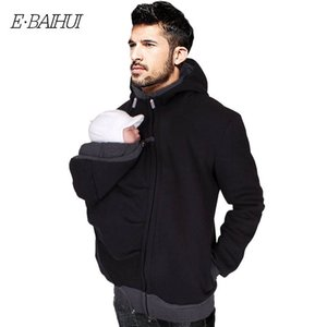 E-BAIHUI Baby Carrier Hoodies Multi-functional Men's Kangaroo Jackets With Zipper Coat Men Clothing Childcare Bag Black Winter Warm M357